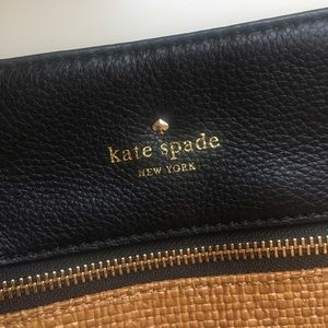 Rare Kate Spade Crossbody Bag in Black Rattan Tan
